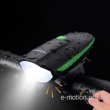 Водонепроницаемая LED фара для велосипеда с встроенным сигналом (1200 мАч)