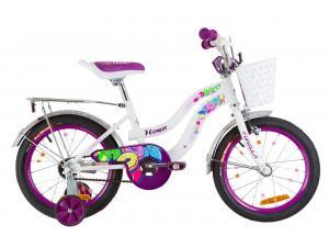 """Велосипед 16"""" Formula FLOWER 14G St с багажником зад St, с крылом St 2019 (бело-фиолетовый)"""
