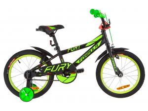 """Велосипед 16"""" Formula FURY 14G St с крылом Pl 2019 (черно-зеленый с красным)"""