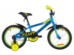 """Велосипед 16"""" Formula FURY 14G St с крылом Pl 2019 (голубой с зеленым)"""