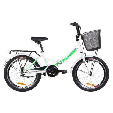 """Велосипед 20"""" Formula SMART 14G St с багажником зад St, с крылом St, с корзиной St 2019 (бело-зеленый)"""