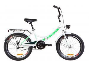 """Велосипед 20"""" Formula SMART 14G St с багажником зад St, с крылом St, с фонарём 2019 (бело-зеленый)"""