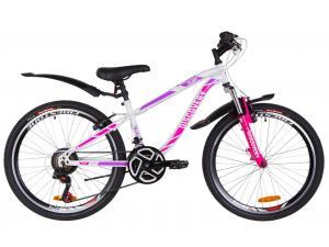 """Велосипед 24"""" Discovery FLINT AM 14G Vbr St с крылом Pl 2019 (бело-малиновый)"""