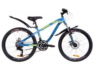 """Велосипед 24"""" Discovery FLINT AM 14G DD St с крылом Pl 2019 (синий с зеленым)"""