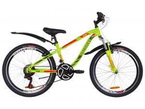 """Велосипед 24"""" Discovery FLINT AM 14G Vbr St с крылом Pl 2019 (зелено-красный)"""
