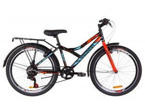 """Велосипед 24"""" Discovery FLINT 14G Vbr St с крылом Pl 2019 (черно-синий с оранжевым)"""