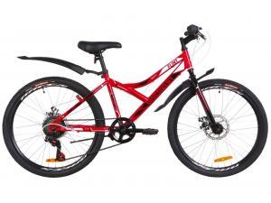 """Велосипед 24"""" Discovery FLINT 14G DD St с крылом Pl 2019 (красно-белый с черным)"""