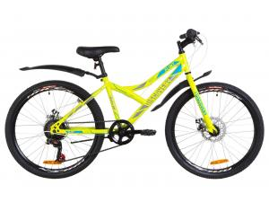 """Велосипед 24"""" Discovery FLINT 14G DD St с крылом Pl 2019 (салатно-синий с серым)"""