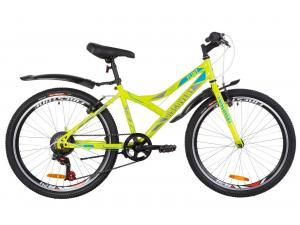 """Велосипед 24"""" Discovery FLINT 14G Vbr St с крылом Pl 2019 (салатно-синий с серым)"""