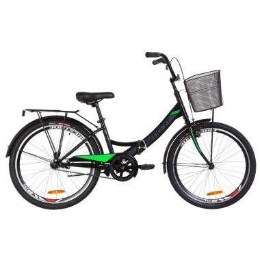 """Велосипед 24"""" Formula SMART 14G тормозная St с багажником зад St, с крылом St, с корзиной St 2019 (черно-салатный)"""