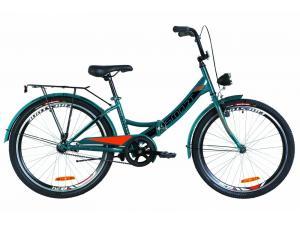 """Велосипед 24"""" Formula SMART 14G тормозная St с багажником зад St, с крылом St, с фонарём 2019 (синий с оранжевым)"""