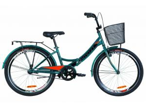 """Велосипед 24"""" Formula SMART 14G тормозная St с багажником зад St, с крылом St, с корзиной St 2019 (синий с оранжевым)"""
