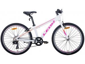 """Велосипед 24"""" Leon JUNIOR 2020 (бело-малиновый с оранжевым)"""