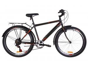 """Велосипед 26"""" Discovery PRESTIGE MAN 14G Vbr St с багажником зад St, с крылом St 2019 (черно-оранжевый хаки)"""