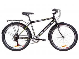 "Велосипед 26"" Discovery PRESTIGE MAN 14G Vbr St с багажником зад St, с крылом St 2019 (черно-серый с желтым)"