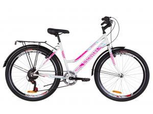"""Велосипед 26"""" Discovery PRESTIGE WOMAN 14G Vbr St с багажником зад St, с крылом St 2019 (бело-малиновый с голубым)"""