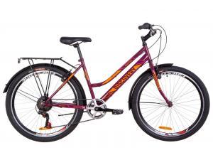 """Велосипед 26"""" Discovery PRESTIGE WOMAN 14G Vbr St с багажником зад St, с крылом St 2019 (бордово-оранжевый с розовым)"""