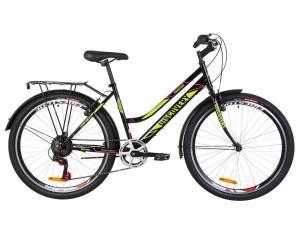 """Велосипед 26"""" Discovery PRESTIGE WOMAN 14G Vbr St с багажником зад St, с крылом St 2019 (черно-салатный с малиновым)"""