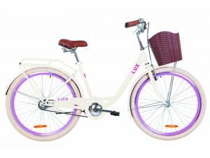 "Велосипед 26"" Dorozhnik LUX 14G St с багажником зад St, с крылом St, с корзиной Pl 2019 (бежевый)"