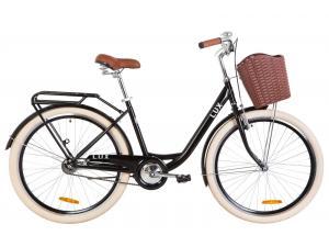 """Велосипед 26"""" Dorozhnik LUX 14G St с багажником зад St, с крылом St, с корзиной Pl 2019 (черный)"""