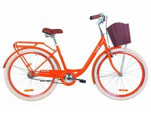 """Велосипед 26"""" Dorozhnik LUX 14G St с багажником зад St, с крылом St, с корзиной Pl 2019 (оранжевый)"""