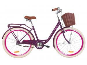 """Велосипед 26"""" Dorozhnik LUX 14G St с багажником зад St, с крылом St, с корзиной Pl 2019 (сливовый)"""