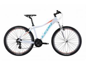 """Велосипед 26"""" Leon HT-LADY AM 14G Vbr Al 2019 бело-голубой с оранжевым"""